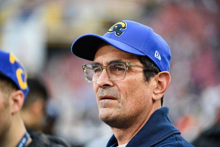 LOS ANGELES, CA - JANUARY 12: Ty Burrell looks on ahead of the Los Angeles Rams NFC Divisional Round playoff game against the Dallas Cowboys at Los Angeles Memorial Coliseum on January 12, 2019 in Los Angeles, California.