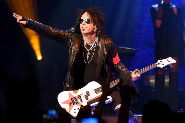 Nikki Sixx performs at The Joint inside the Hard Rock Hotel & Casino on April 10, 2015 in Las Vegas, Nevada.