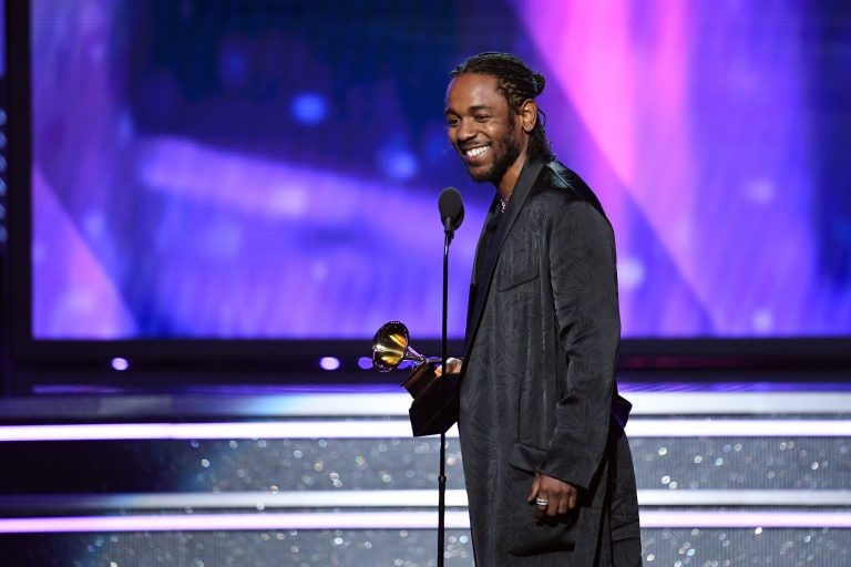 NEW YORK, NY - JANUARY 28: Recording artist Kendrick Lamar accepts Best Rap Album for 'DAMN.' onstage during the 60th Annual GRAMMY Awards at Madison Square Garden on January 28, 2018 in New York City. (Photo by Kevin Winter/Getty Images for NARAS)