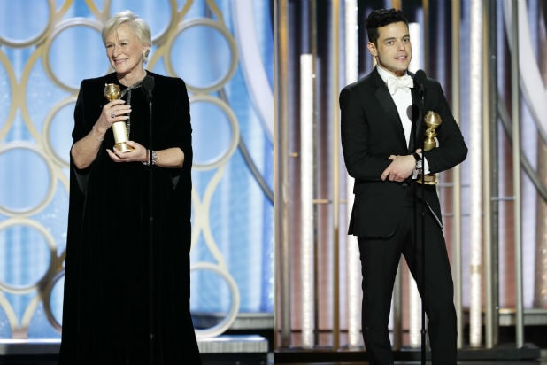 Glenn Close and Rami Malek at the Golden Globes