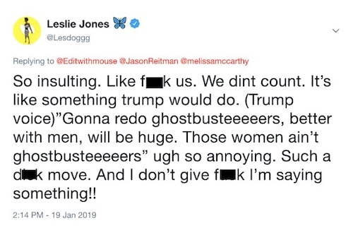 Leslie Jones Gustbusters Reboot Tweet