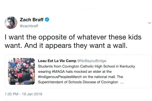 Zach Braff Twitter Native American Rally