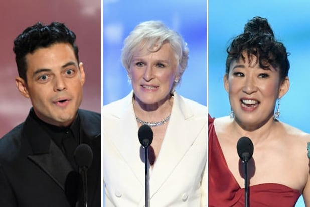 sag awards rami male glenn close sandra oh