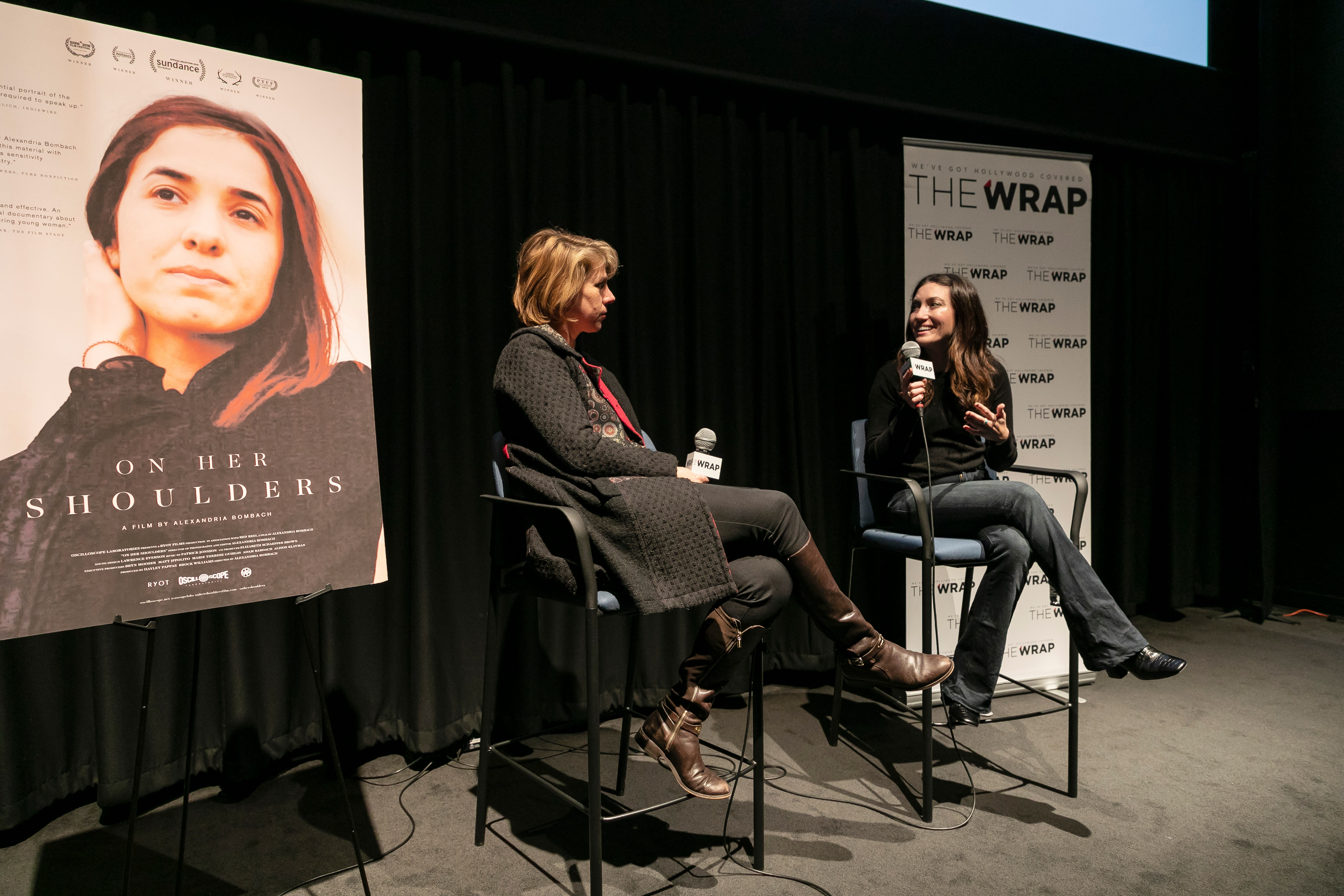 """On Her Shoulders"" screening and Q&A with producer Hayley Pappas. Hosted by the Wrap and held at the Landmark Theatre in West Los Angeles."