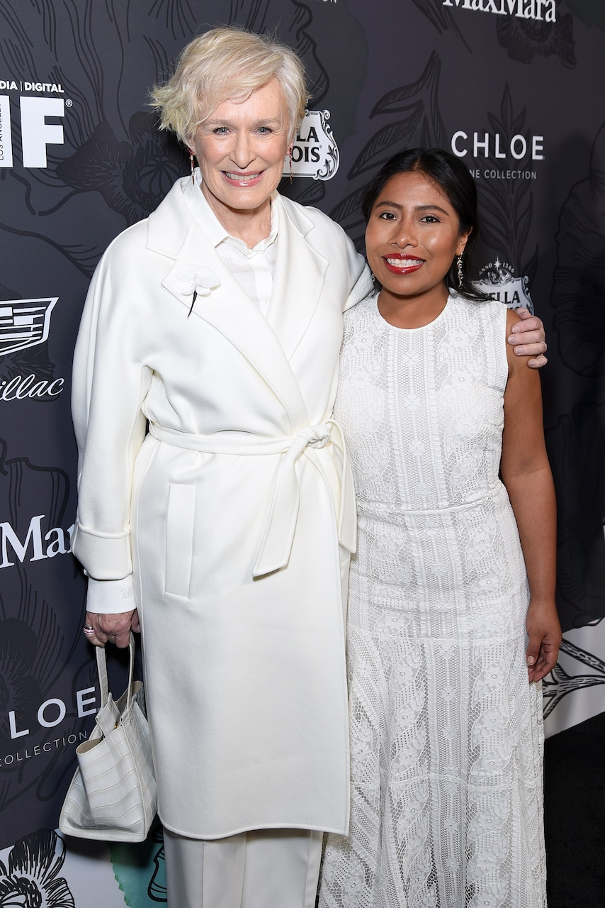 BEVERLY HILLS, CALIFORNIA - FEBRUARY 22: Glenn Close and Yalitza Aparicio attends 12th Annual Women in Film Oscar Nominees Party Presented by Max Mara with additional support from Chloe Wine Collection, Stella Artois and Cadillac at Spring Place on February 22, 2019 in Los Angeles, California. (Photo by Presley Ann/Getty Images for Women In Film)