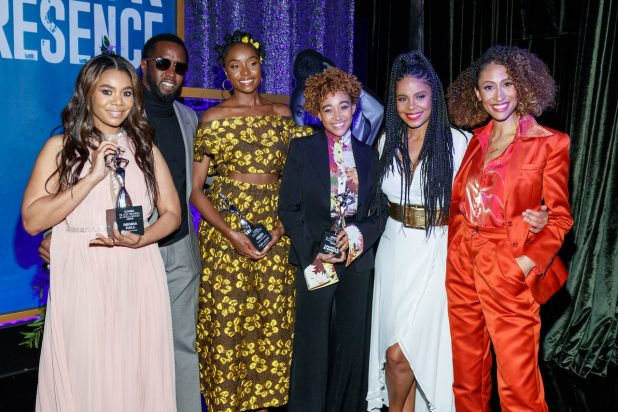 BEVERLY HILLS, CALIFORNIA - FEBRUARY 21: (L-R) Honoree Regina Hall, Sean 'Diddy' Combs, honoree KiKi Layne, honoree Amandla Stenberg, Sanaa Lathan, and Elaine Welteroth attend the 2019 Essence Black Women in Hollywood Awards Luncheon at Regent Beverly Wilshire Hotel on February 21, 2019 in Los Angeles, California. (Photo by Rich Polk/Getty Images for Essence)