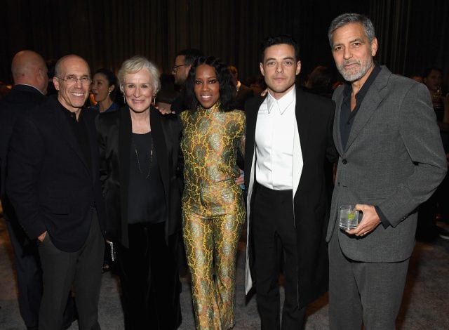 CENTURY CITY, CA - FEBRUARY 23: (L-R) Jeffrey Katzenberg, Glenn Close, Regina King, Rami Malek, and George Clooney attend MPTF's 'The Night Before' The Oscars at Fox Studio Lot on February 23, 2019 in Century City, California. (Photo by Kevin Mazur/Getty Images for MPTF) *** Local Caption *** Jeffrey Katzenberg;Glenn Close;Regina King;Rami Malek;George Clooney