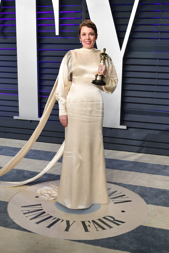 BEVERLY HILLS, CA - FEBRUARY 24: Olivia Colman, winner of Best Actress for 'The Favourite', attends the 2019 Vanity Fair Oscar Party hosted by Radhika Jones at Wallis Annenberg Center for the Performing Arts on February 24, 2019 in Beverly Hills, California. (Photo by Dia Dipasupil/Getty Images)