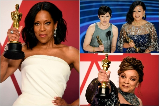 "Regina King, Ruth Carter, Becky Neiman-Cobb and Domee Shi ""Bao"" Oscars"