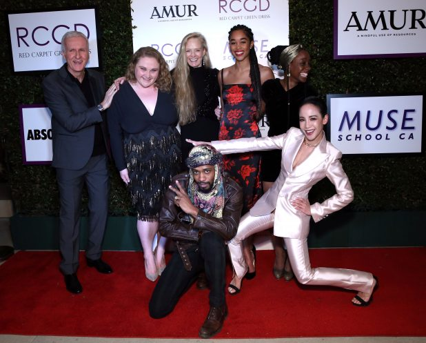 BEVERLY HILLS, CALIFORNIA - FEBRUARY 21: James Cameron, Danielle Macdonald, Suzy Amis Cameron, Samata Pattinson, Lakeith Stanfield, Fiona Xie, and Laura Harrier attend Suzy Amis Cameron's 10-Year Anniversary Of RCGD Celebration on February 21, 2019 in Beverly Hills, California.