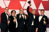 Jim Burke, Charles B. Wessler, Nick Vallelonga, Peter Farrelly, and Brian Currie, winners of Best Picture for 'Green Book,' pose in the press room during the 91st Annual Academy Awards at Hollywood and Highland on February 24, 2019 in Hollywood
