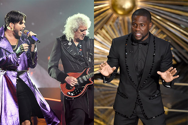 Queen Over Hart During Oscars Opener Adam Lambert Joins Band