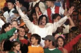 Michael Jackson performs 'Heal the World' during the Halftime show as the Dallas Cowboys take on the Buffalo Bills in Super Bowl XXVII at Rose Bowl on January 31, 1993 in Pasadena, California