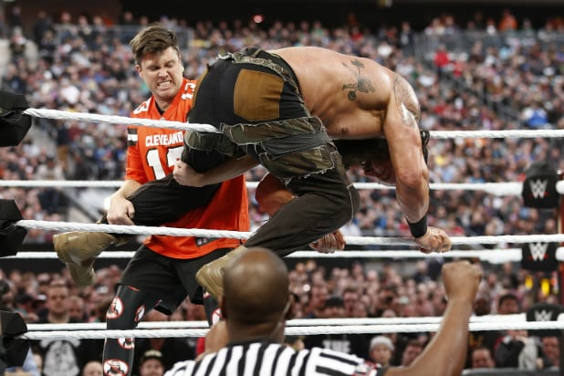 Colin Jost and Braun Strowman at WrestleMania 35