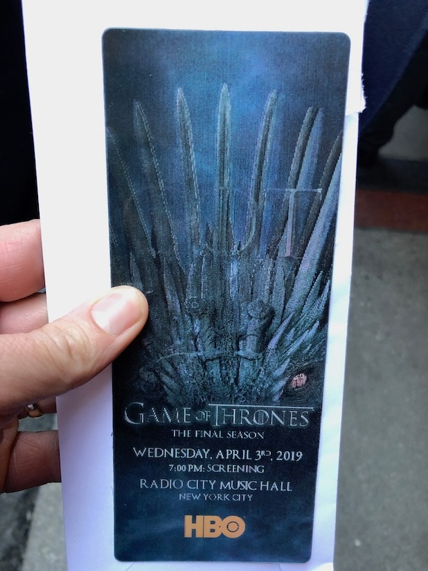 Game of thrones premiere ticket