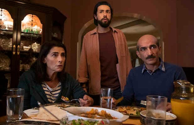 "Maysa (Hiam Abbass), Ramy (Ramy Youssef), and Farouk (Amr Waked), in ""Ramy."""