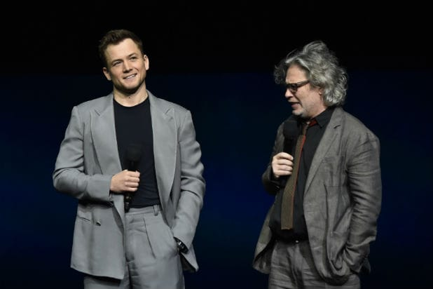 Taron Egerton and Dexter Fletcher at Rocketman Cinemacon Presentation
