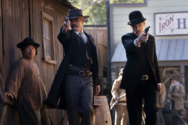 Timothy Olyphant and John Hawkes in Deadwood: The Movie