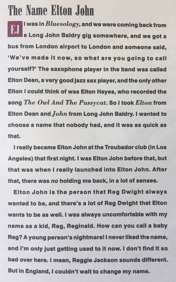 Elton John CD cover