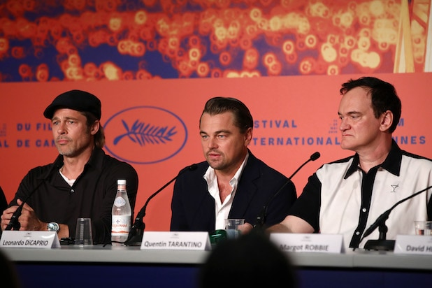 Brad Pitt Leonardo Di Caprio and Quentin Tarantino Cannes Press Conference Once Upon a Time ... in Hollywood