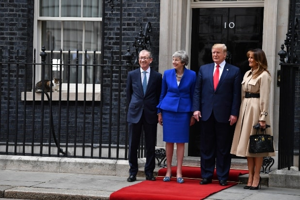 Larry the Cat with Trump and Theresa May