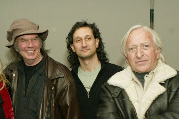 "Neil Young, Richard Abramowitz and Elliot Roberts attend the 3rd Annual Film Comment Selects special screening and reception of ""Greendale"" February 13, 2004 in New York City."