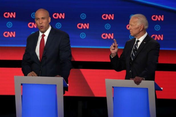 Cory Booker and Joe Biden at Democratic Debate on CNN