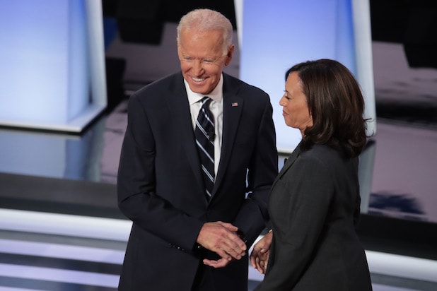 Joe Biden and Kamala Harris at CNN presidential debate