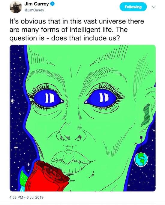 Jim Carrey artwork Alien Life
