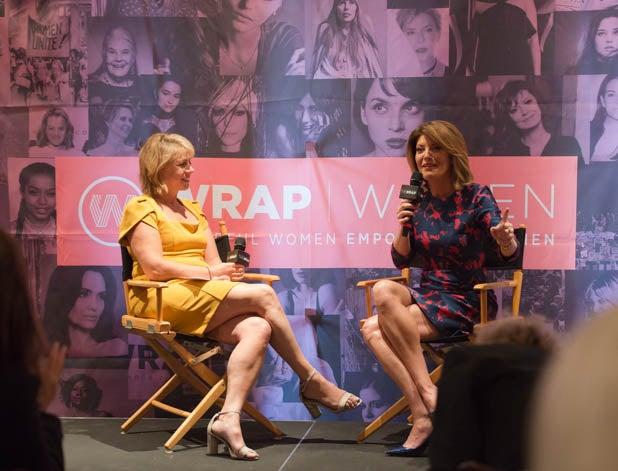 Sharon Waxman and Norah O'Donnell at PWB NYC 2019