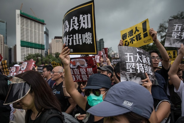 Pro-democracy protesters rally in Hong Kong's Victoria Park on August 18, 2019