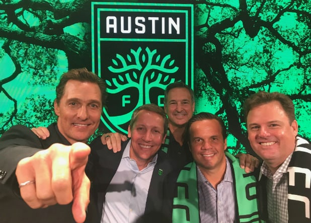 Matthew McConaughey, Eddie Margain, Marius Haas and Anthony Precourt/MLS