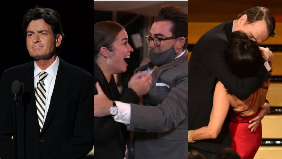 18 Unforgettable Emmy Moments, From 'Schitt's' Good Luck to Charlie Sheen's Cool Conduct (Photos).jpg