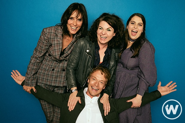 Coky Giedroyc, Caitlin Moran, Beanie Feldstein, and Alfie Allen, How to Build a Girl