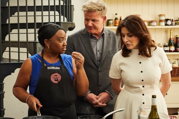 MasterChef, L-R: Contestant Dorian with host/chef Gordon Ramsay and special guest Nigella Lawson