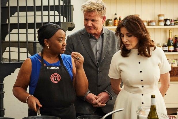 MasterChef, L-R: Contestant Dorian with host/chef Gordon Ramsay and special guest Nigella Lawson