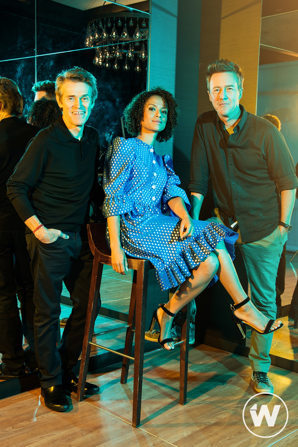 Willem Dafoe, Gugu Mbatha-Raw, and Edward Norton, Motherless Brooklyn