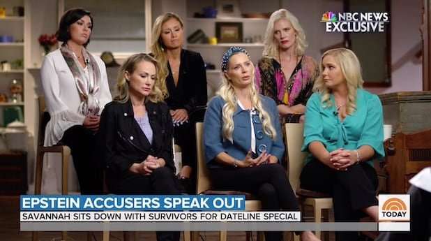 Still from Dateline NBC's interview with six of Jeffrey Epstein's accusers
