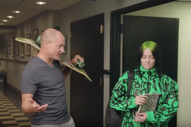'Saturday Night Live': Woody Harrelson Shows 'New Kid' Billie Eilish Around in First-Day Promo (Video)