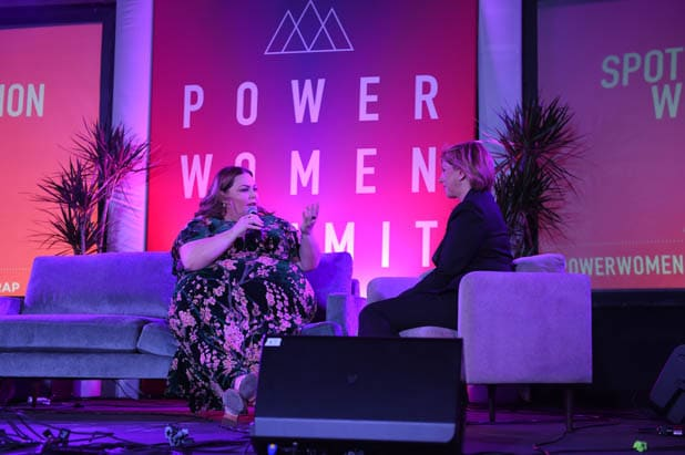 Chrissy Metz and Sharon Waxman at the Power Women Summit 2019