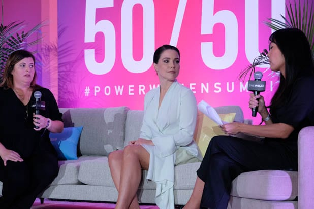 Lara Cohen, Sophia Bush and Melissa Magsaysay at the Power Women Summit 2019