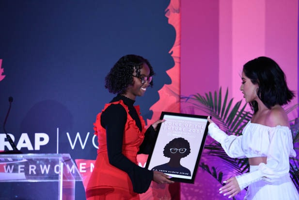 Isra Hirsi and Becky G at the power women summit 2019