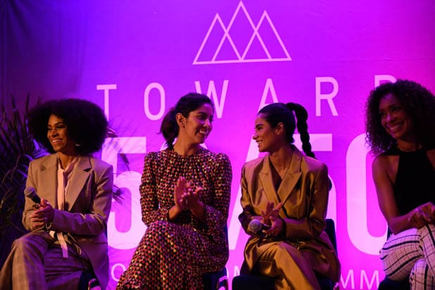 Kelly McCreary, Stephanie Beatriz, Diance Guerrero and Gina Torres at the power women summit 2019