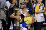 Steph Curry, Riley Curry, and Ryan Curry at 2017 NBA Finals