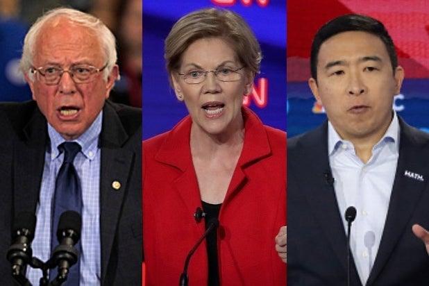 Bernie Sanders Elizabeth Warren Andrew Yang