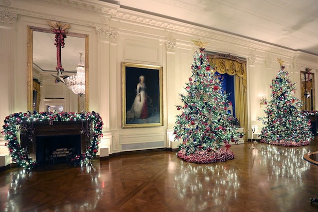 White House East Room with Christmas decorations