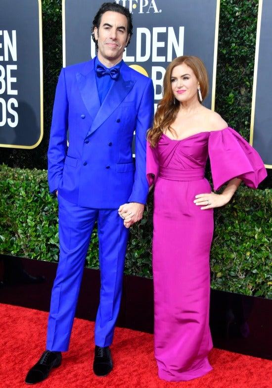 Sacha Baron Cohen Isla Fisher Golden Globes 2020