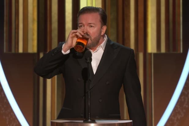 golden globes 2020 ricky gervais monologue many jokes