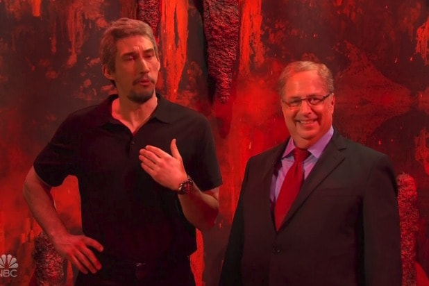 'SNL': Jon Lovitz as Alan Dershowitz Goes to Hell and Joins Adam Driver's Jeffrey Epstein on Satan's Podcast