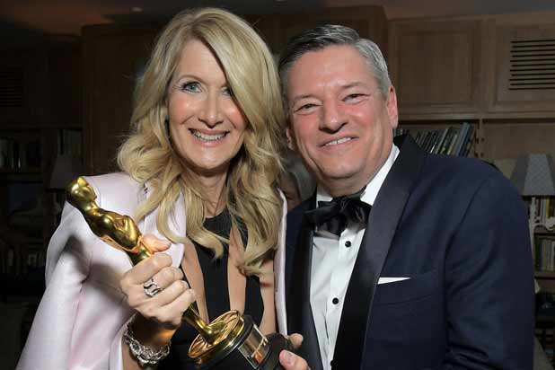 Laura Dern and Ted Sarandos at Netflix Oscars 2020 after party